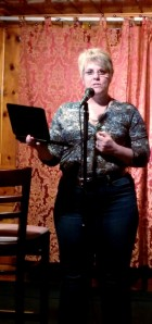 Carol Cizauskas reading her poetry at open mic night at Wildflower Village, Reno, Nevada. Thursday, 8 May 2014.